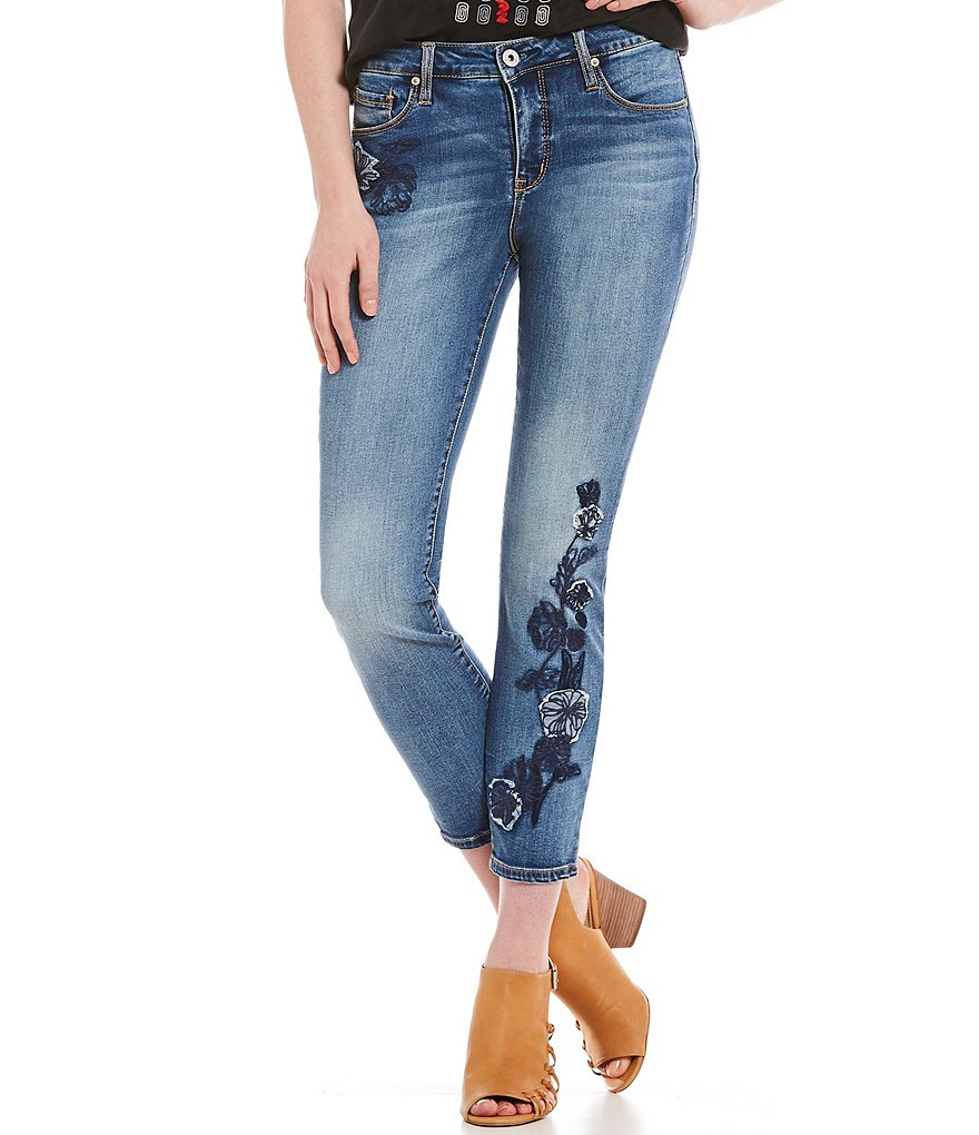 MIRACLEBODY JEANS Ideal Floral Embroidered Ankle Jeans