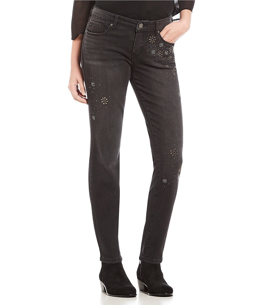 MIRACLEBODY JEANS Ideal Skinny Destruction Scattered Stone Embellished Jeans