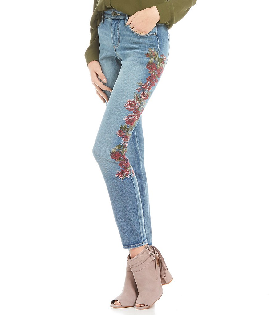 MIRACLEBODY JEANS Ideal Skinny Floral Embroidered Jeans