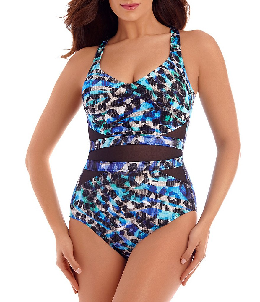 Miraclesuit Seaglass Its A Cinch Underwire Printed One-Piece Swimsuit
