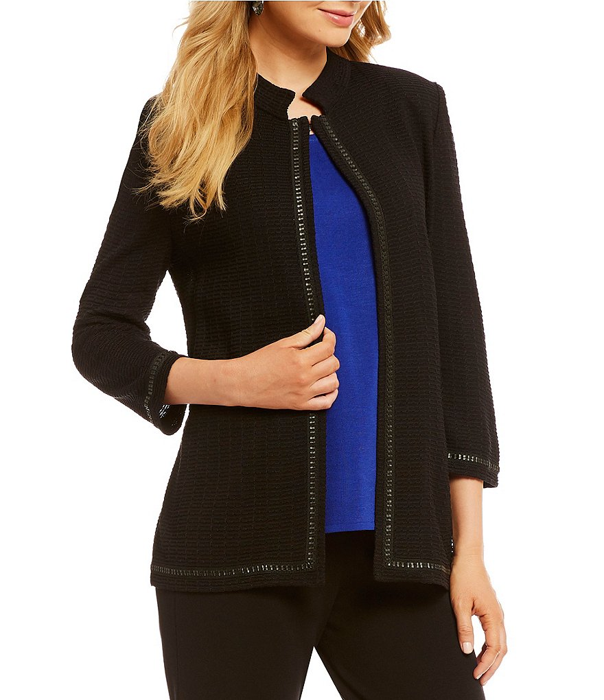 Misook Faux Leather Trim Jacket