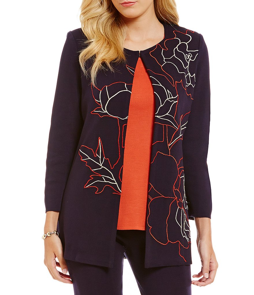 Misook Floral Embroidered Jacket