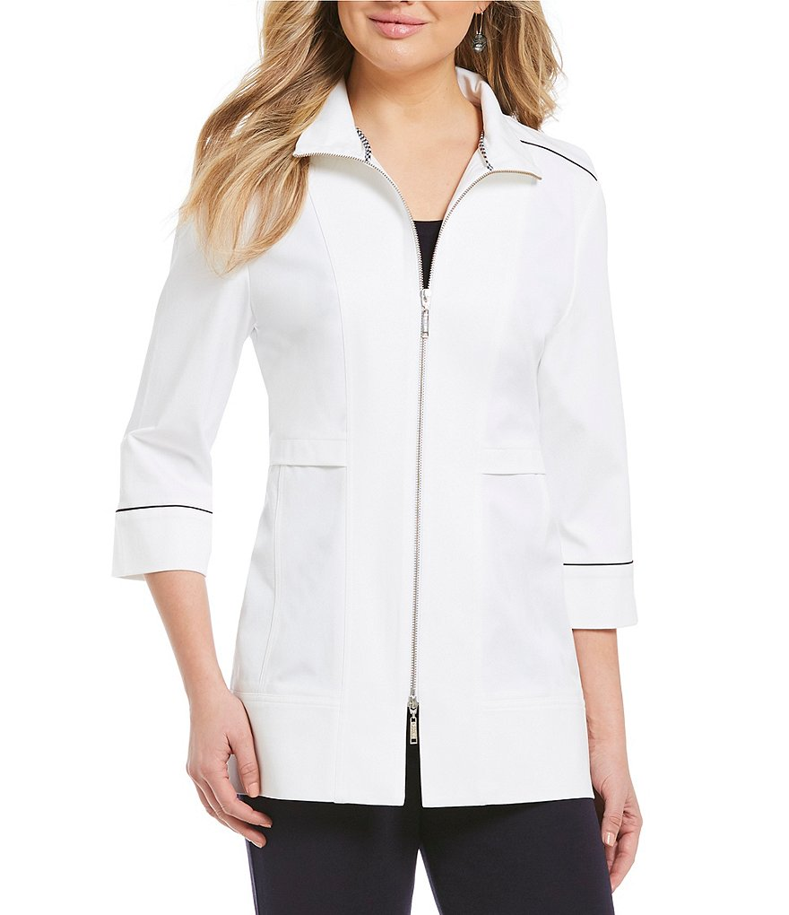 Misook Stand Collar Zipper Front Jacket