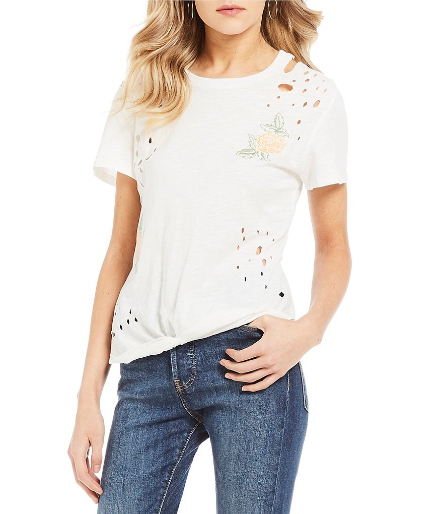 Miss Chievous Destructed Embroidered Knot Front Tee