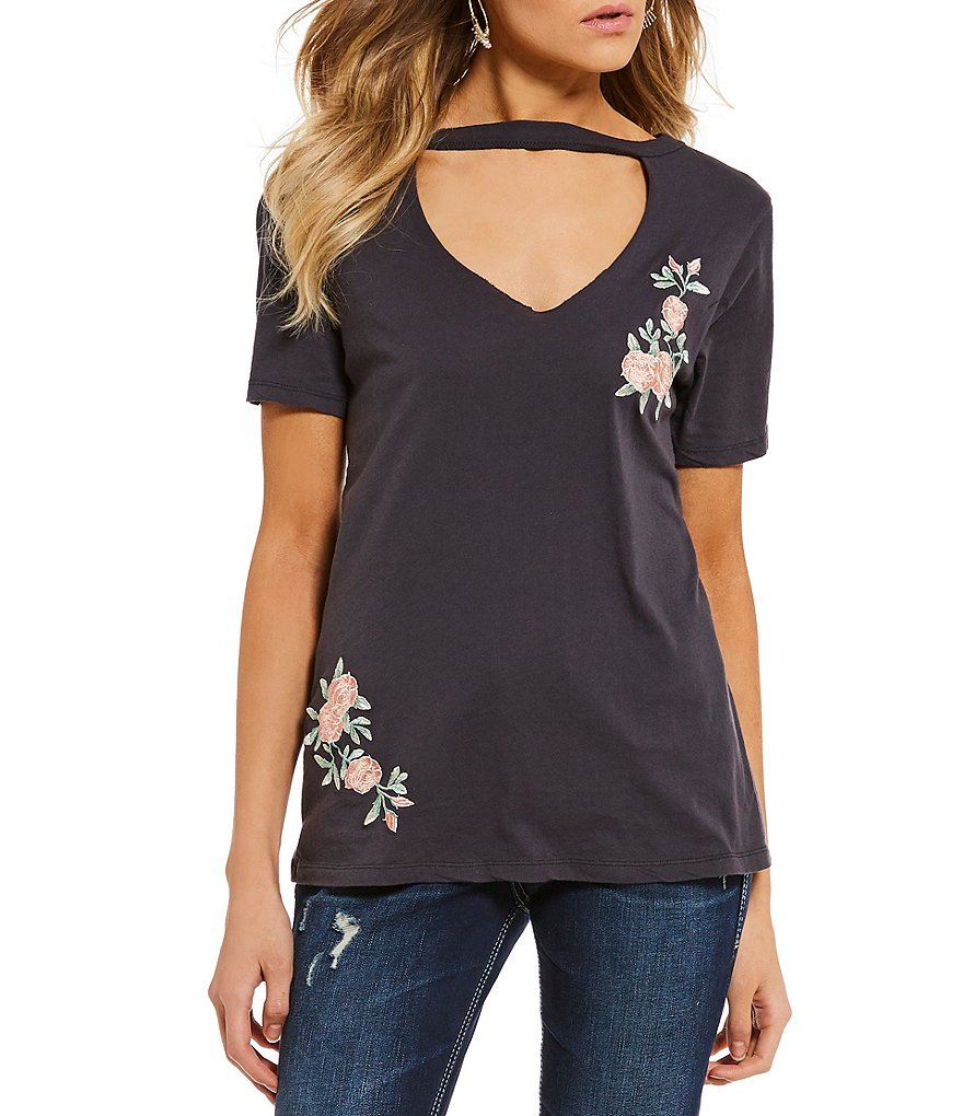 Miss Chievous Floral Embroidered Choker Neck Short Sleeve Tee
