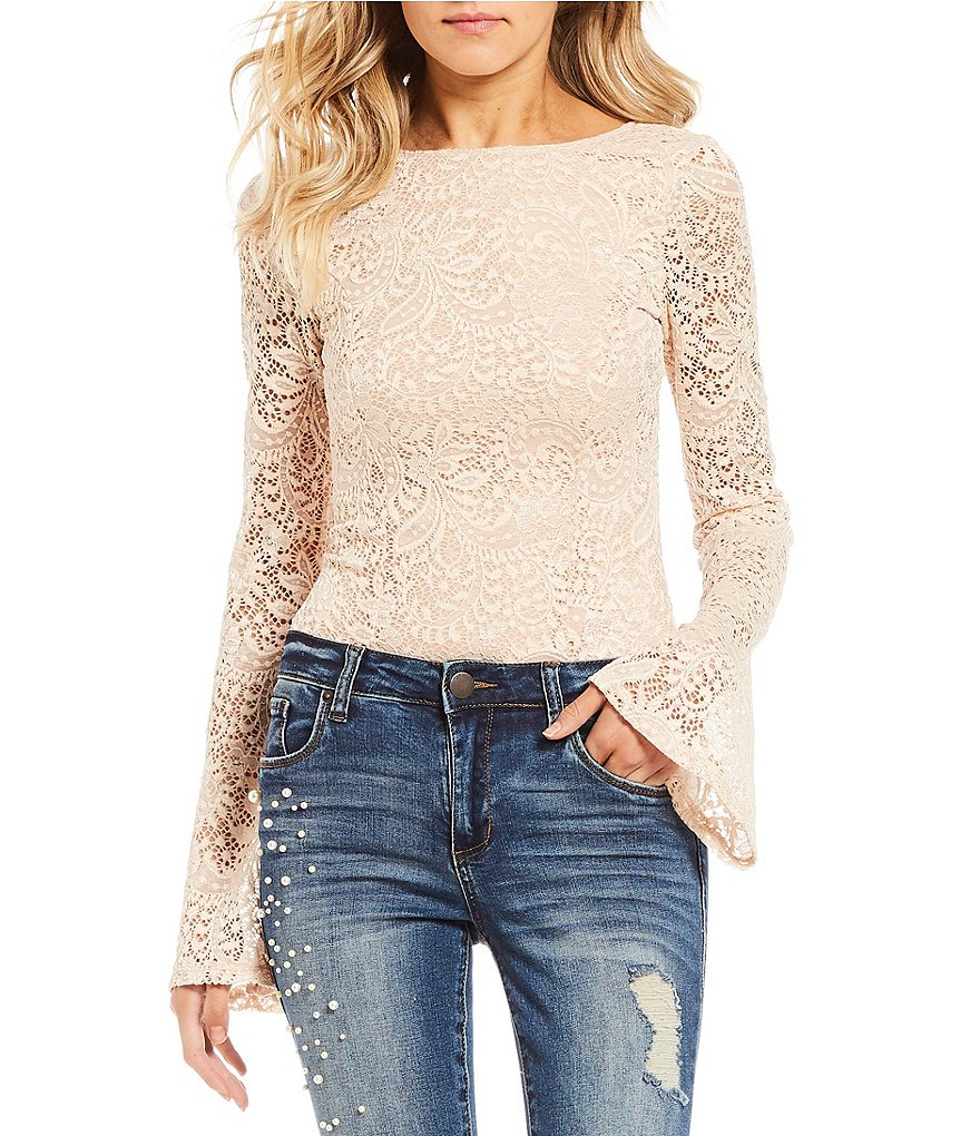 Miss Chievous Lace Bell Sleeve Bodysuit