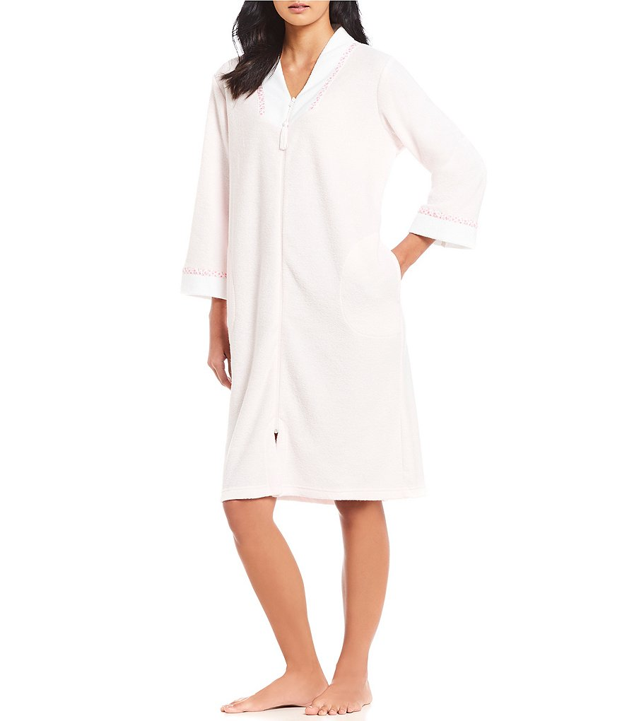 Miss Elaine Brushed Back Terry Zip-Front Short Robe