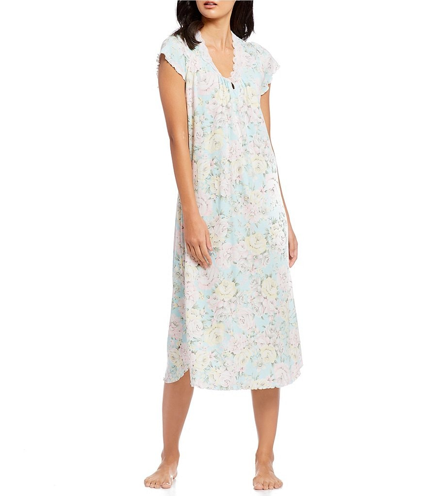 Miss Elaine Cottonessa Floral-Print Long Nightgown