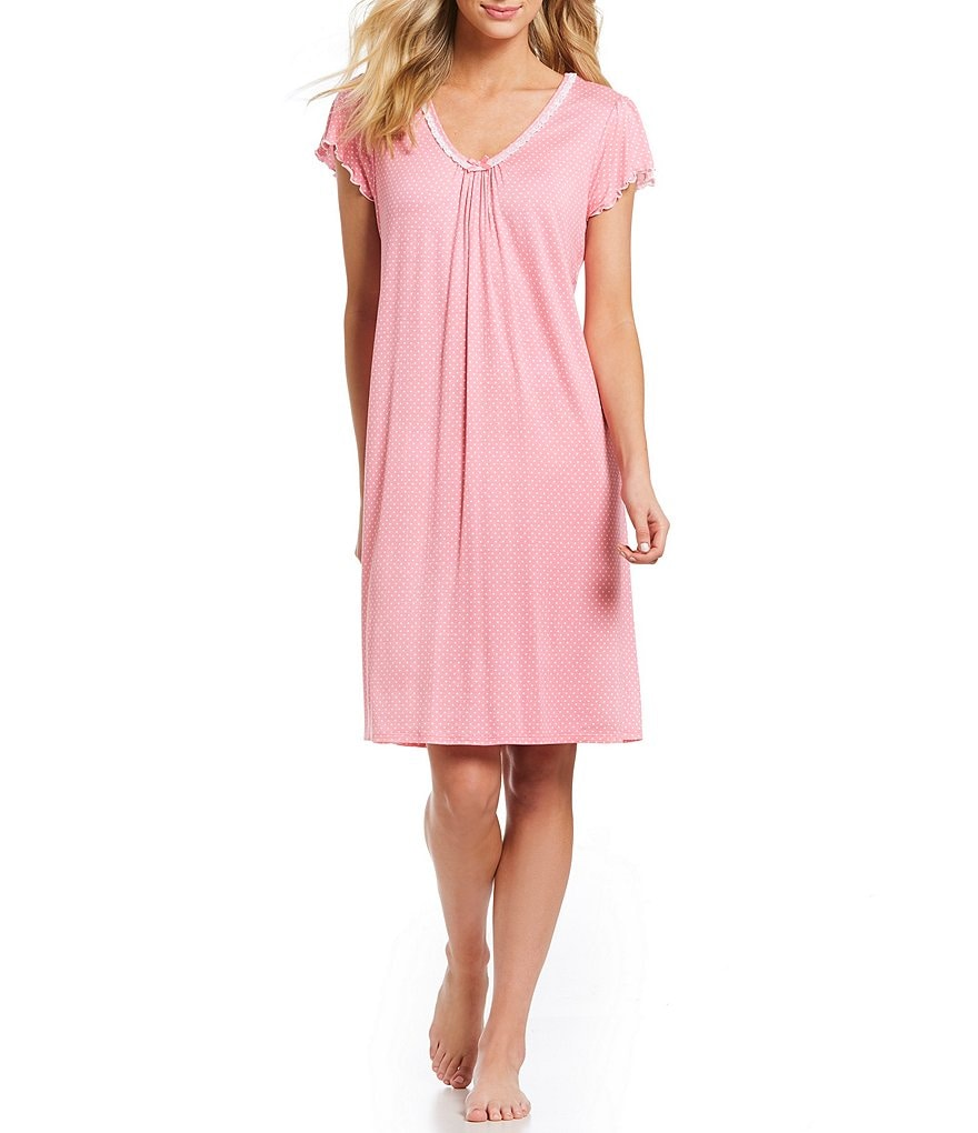 Miss Elaine Dotted Liquid Knit Flutter-Sleeve Nightgown