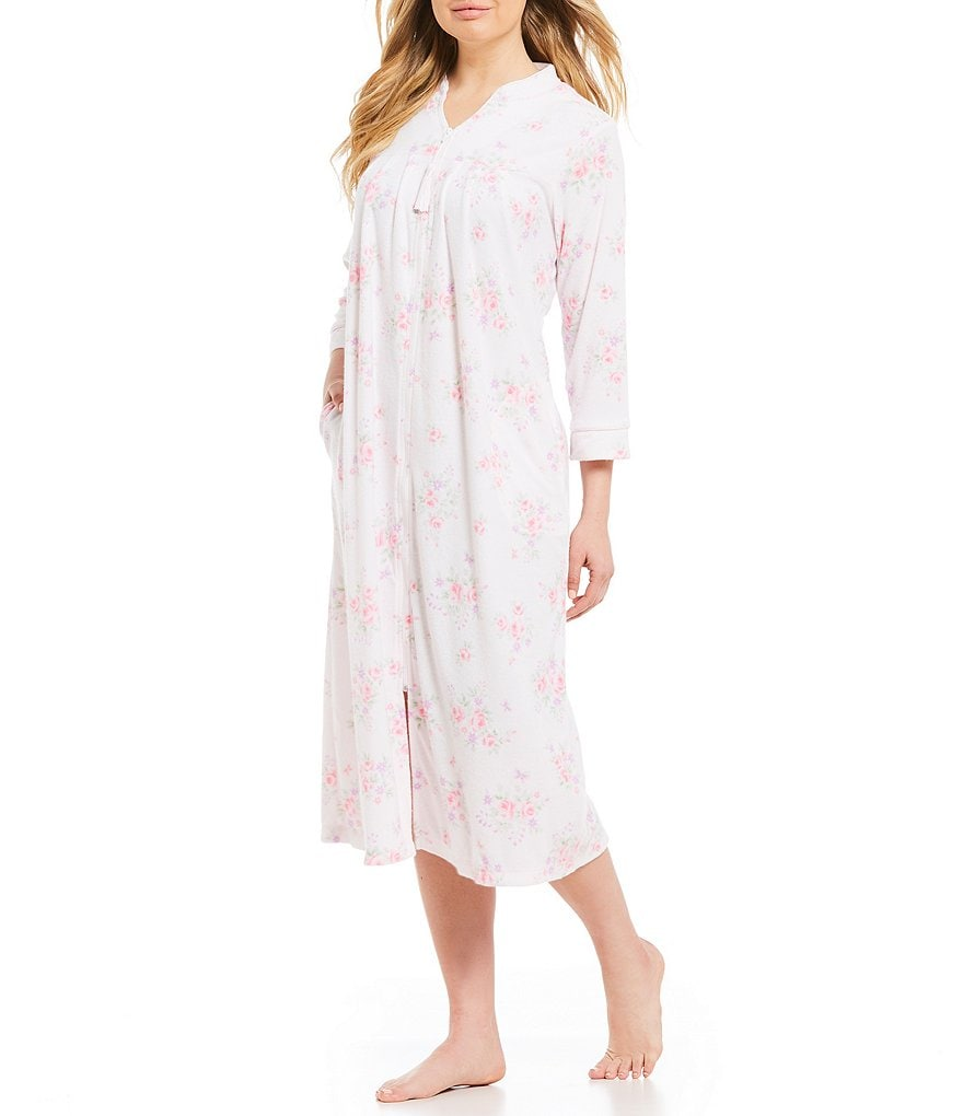 Miss Elaine Floral & Butterfly-Printed Stretch Terry Zip-Front Long Robe