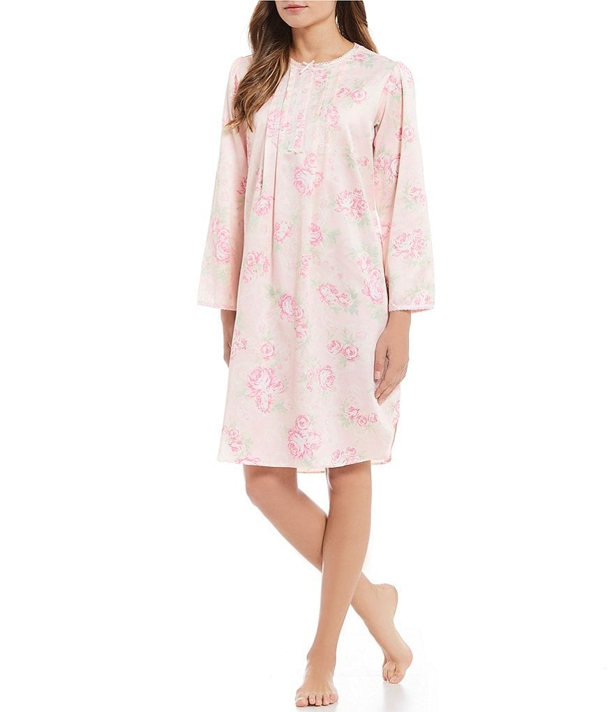 Miss Elaine Floral-Print Brushed-Back Satin Short Nightgown