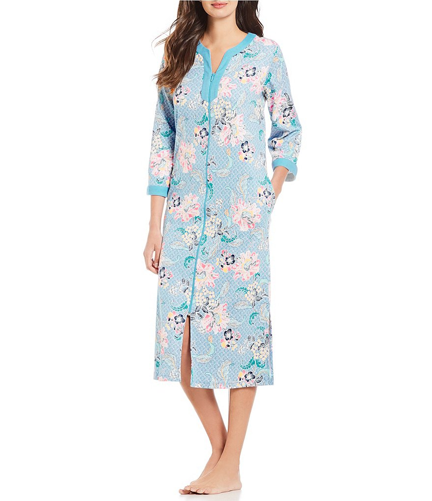 Miss Elaine Floral Print Interlock Knit Zip-Front Long Robe