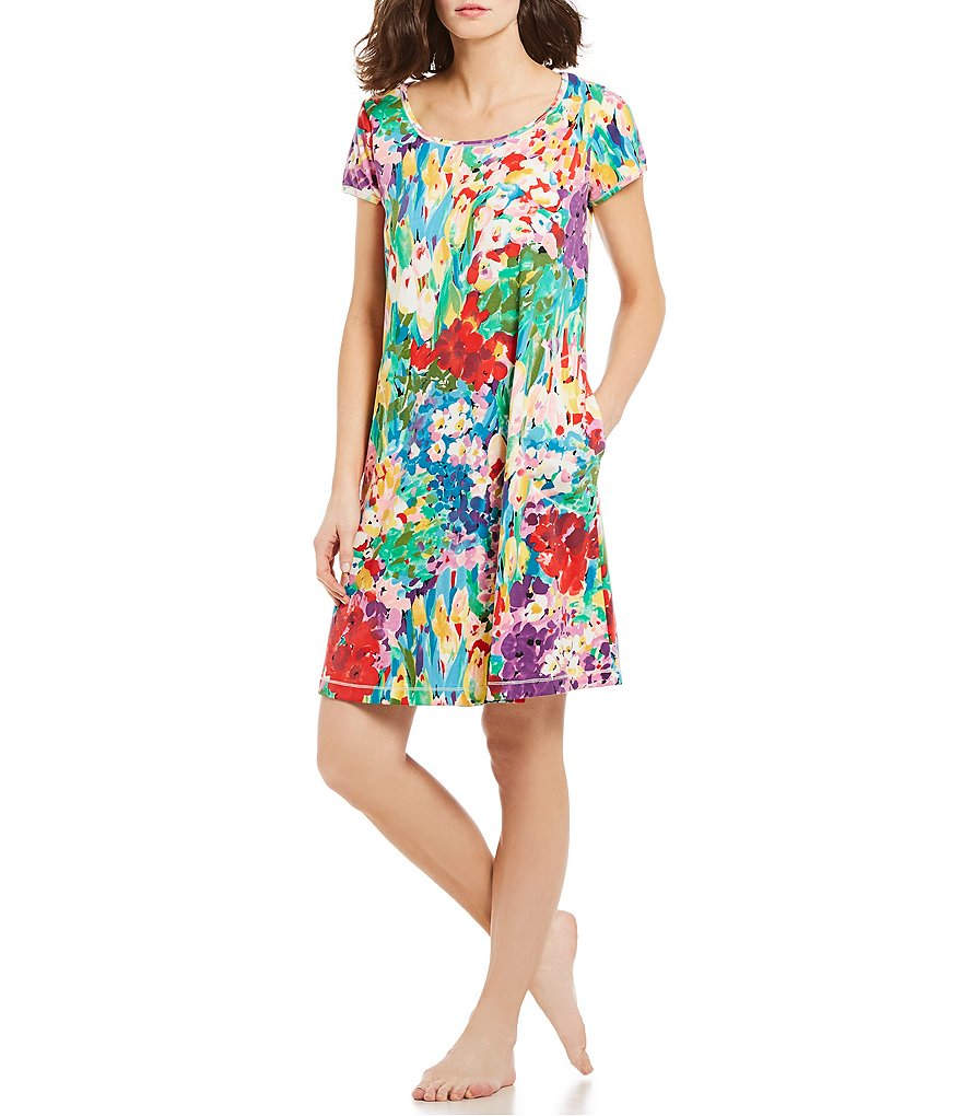 Miss Elaine Floral-Print Interlock Sleep Dress