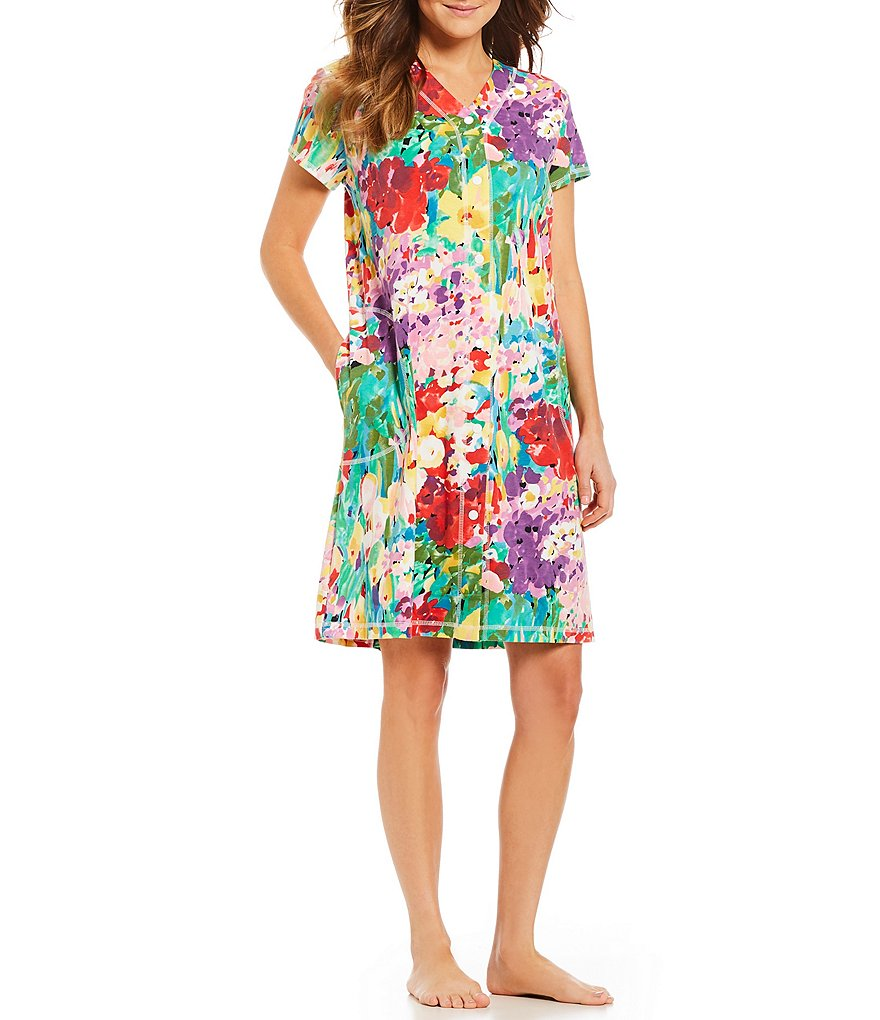 Miss Elaine Floral-Printed Interlock Grip-Front Robe
