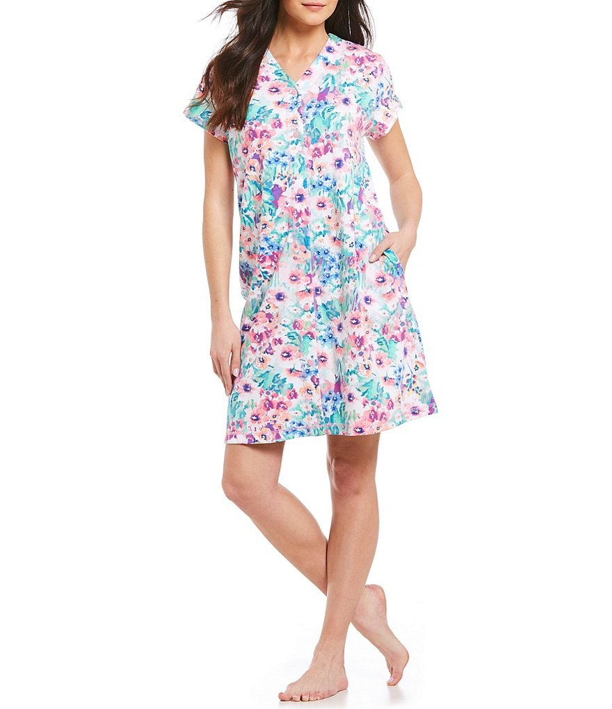Miss Elaine Floral Watercolor Interlock Grip-Front Short Robe
