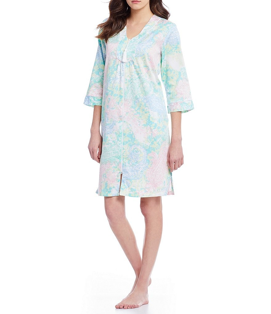Miss Elaine Paisley Sateen Tasseled Zip Robe