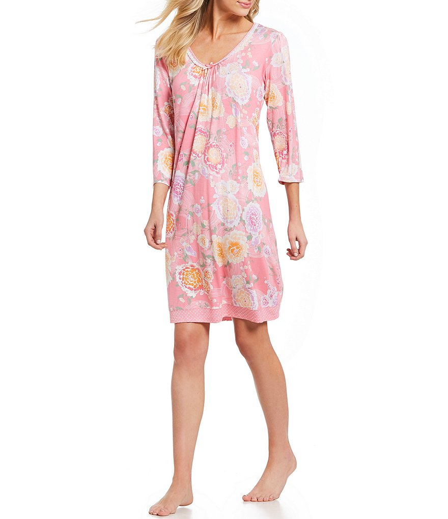 Miss Elaine Peonies & Birds Liquid Knit Nightgown