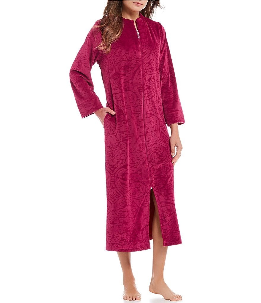 Miss Elaine Petite Brocade Micro Fleece Zip-Front Long Robe