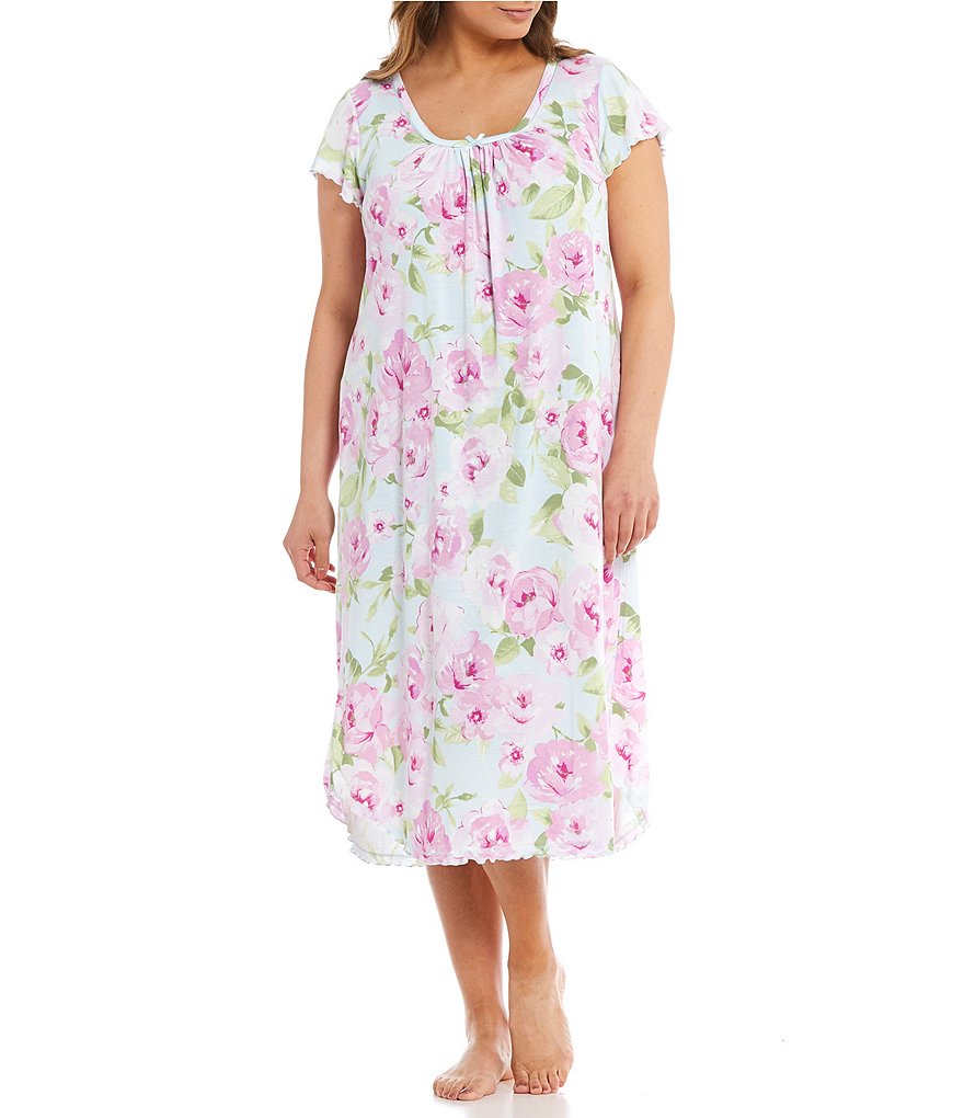 Miss Elaine Plus Pleated Floral Nightgown