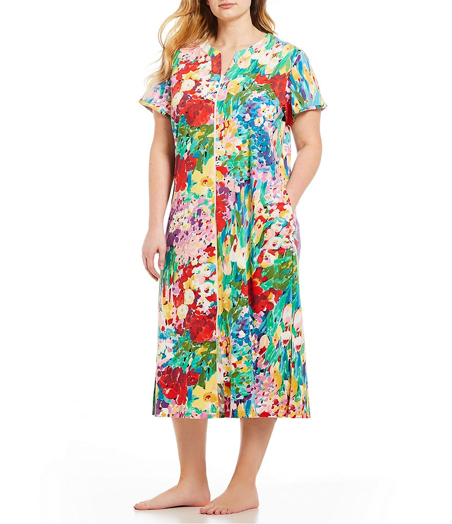 Miss Elaine Plus Floral-Print Interlock Zip-Front Long Robe