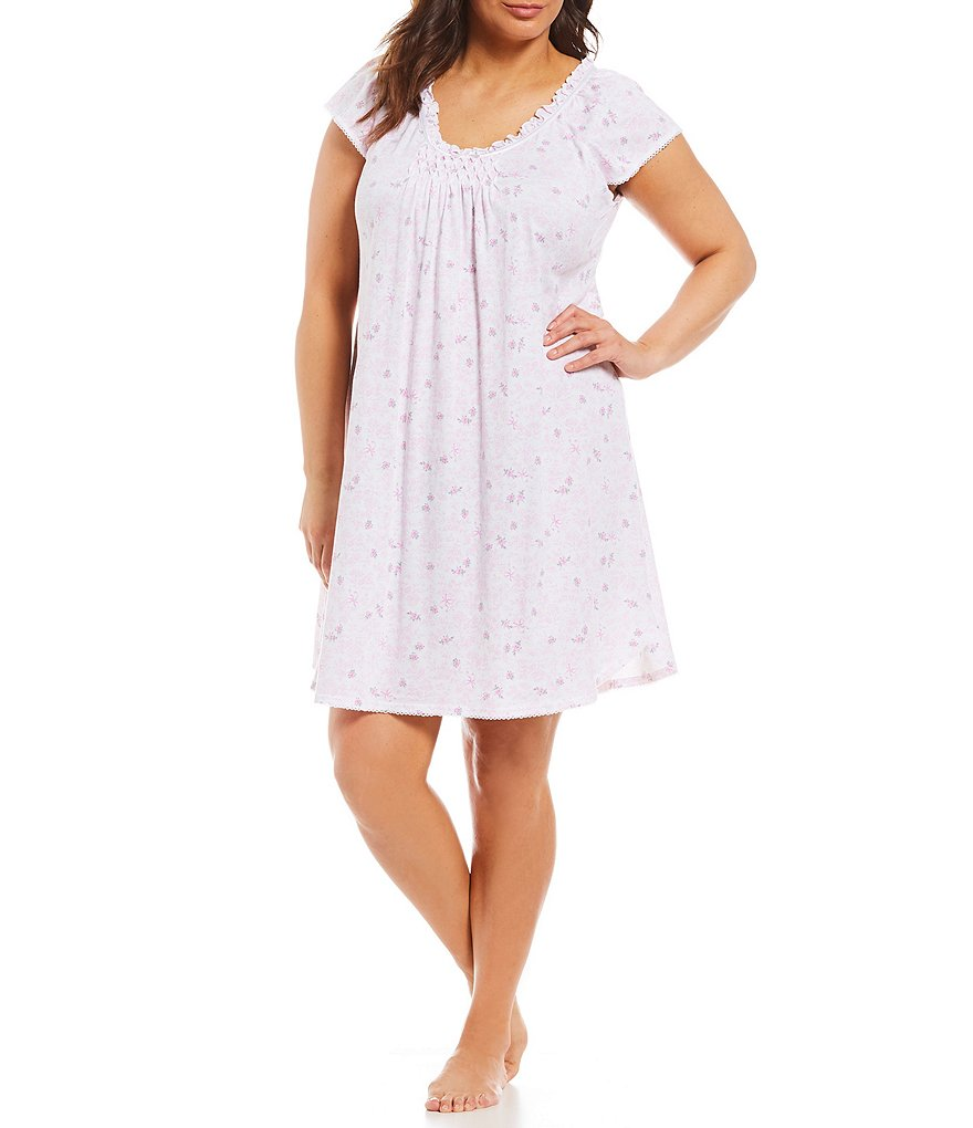 Miss Elaine Plus Floral-Toile Print Silky Nightgown
