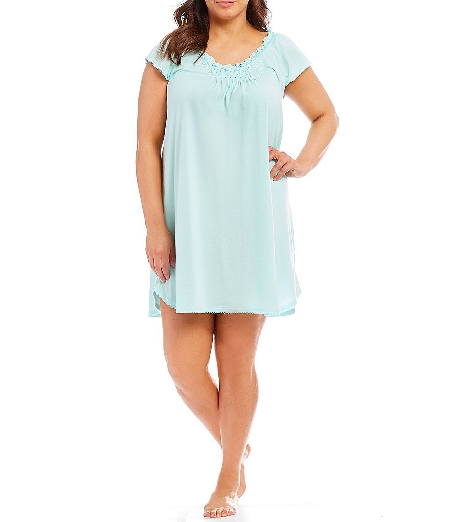 Miss Elaine Plus Silkyknit Solid Nightgown