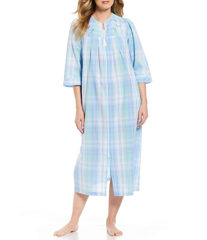 Miss Elaine Seersucker Plaid-Print Zip-Front Long Robe