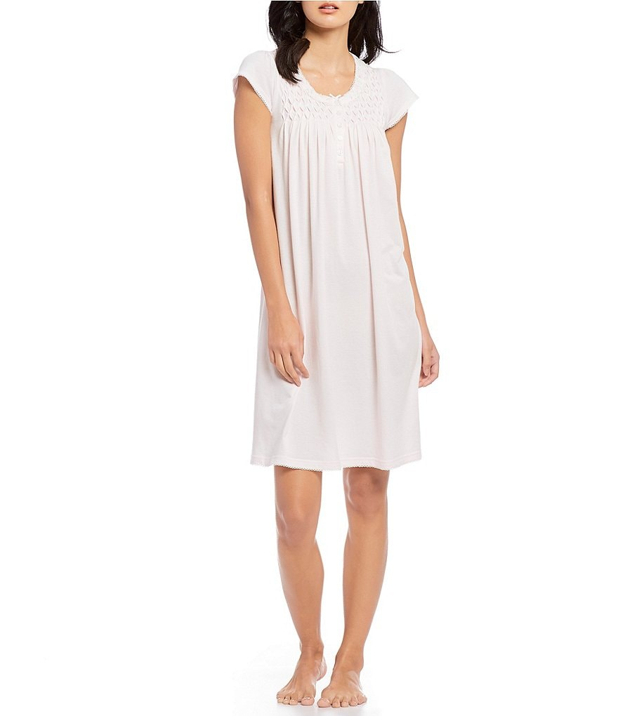 Miss Elaine Silky Knit Flutter-Sleeve Nightgown