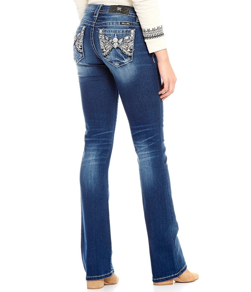 Miss Me Art Nouveau Embellished Low-Rise Stretch Bootcut Jeans
