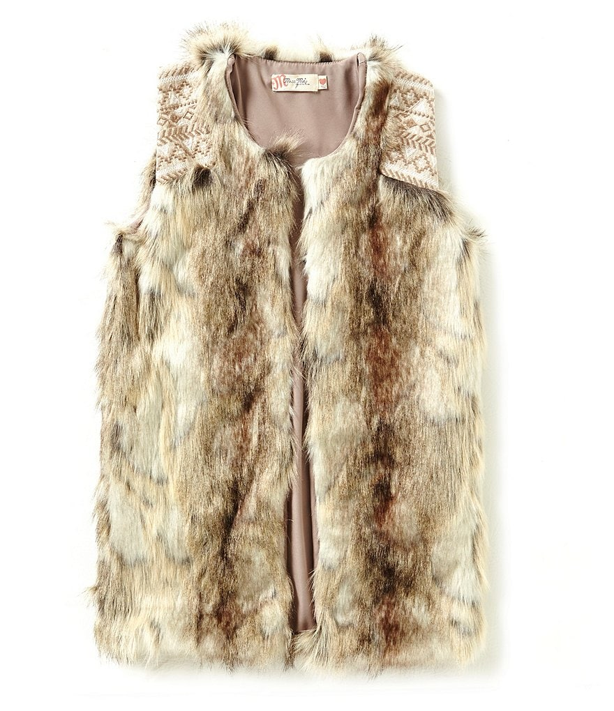 Miss Me Big Girls 7-16 Faux-Fur Embroidered Vest
