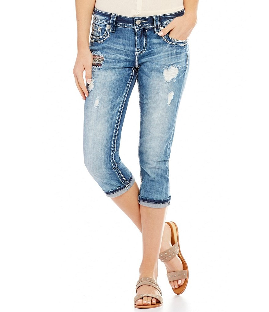 Miss Me Blown Out Pocket Frayed Hem Stretch Denim Capri Jeans