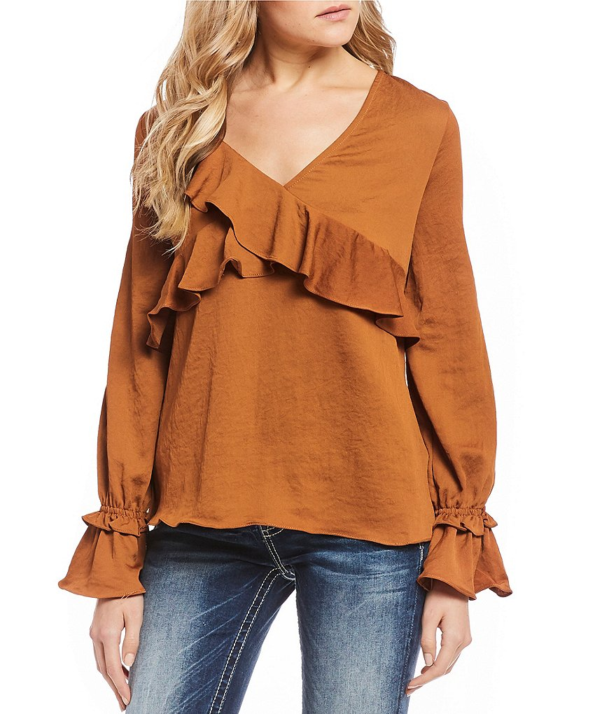 Miss Me Cascading Ruffle Trim Trumpet Sleeve Top