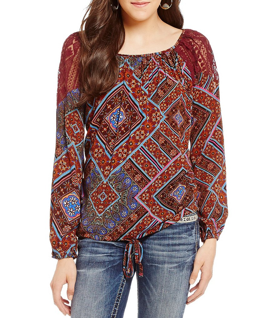 Miss Me Crochet Detail Printed Tie-Front Peasant Top