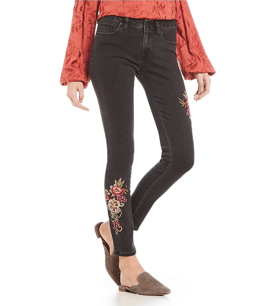 Miss Me Destructed Embroidered Skinny Jeans