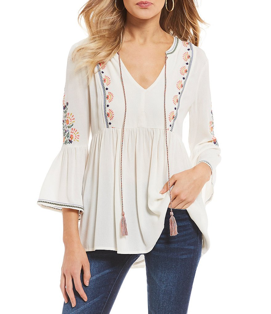 Miss Me Embroidered Bell Sleeve Peasant Top