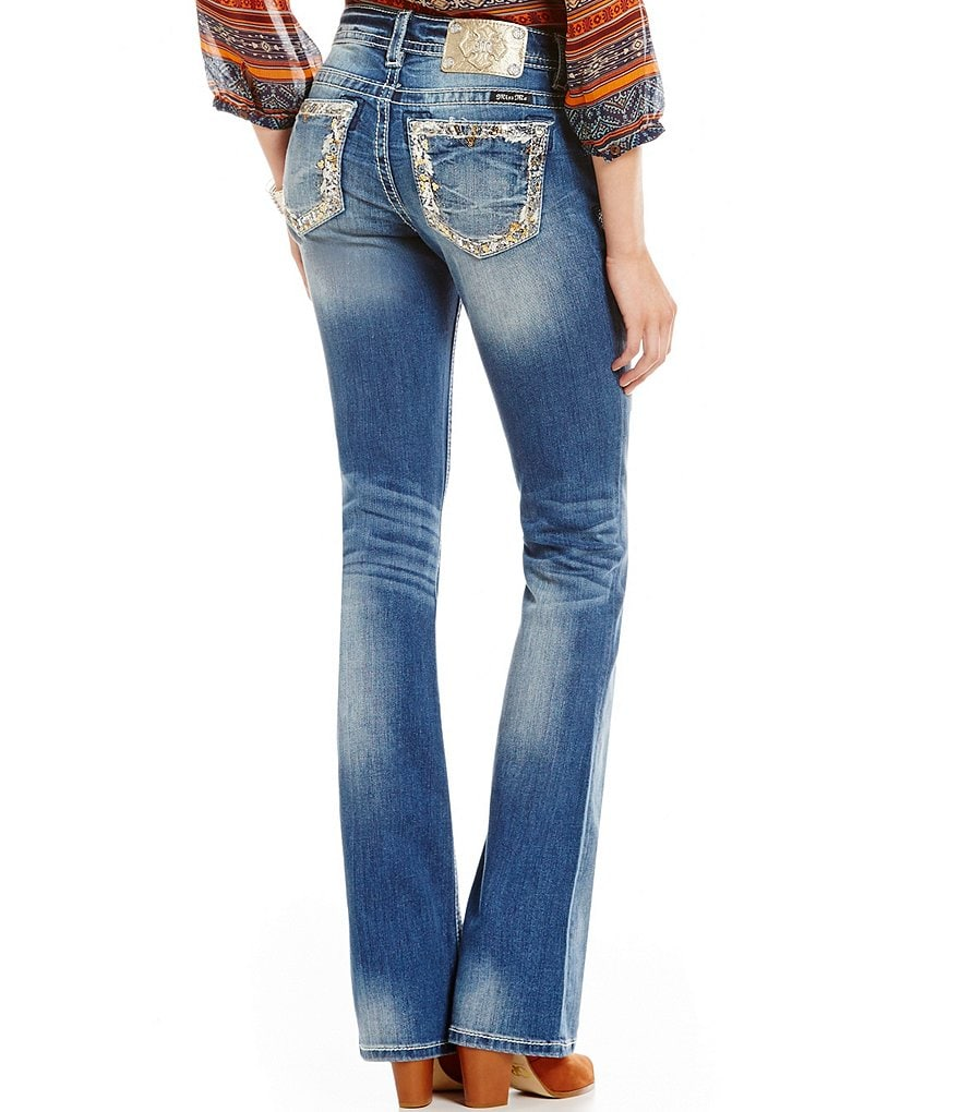 Miss Me Embroidered Pocket Whiskered Bootcut Jeans