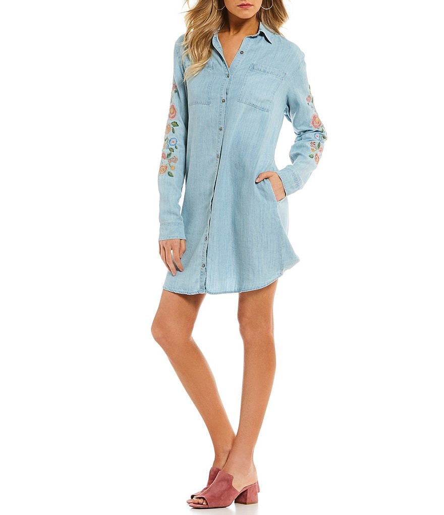 Miss Me Embroidered Floral Long-Sleeve Chambray Shirt Dress