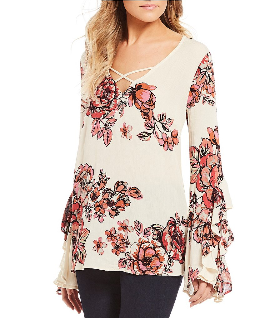 Miss Me Floral Printed Criss-Cross Front Ruffle Bell Sleeve Top