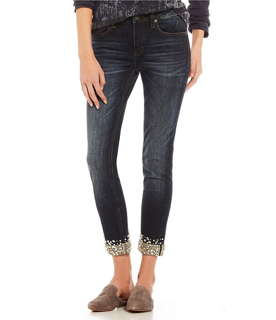 Miss Me Jeweled-Roll-Cuff Ankle Jeans