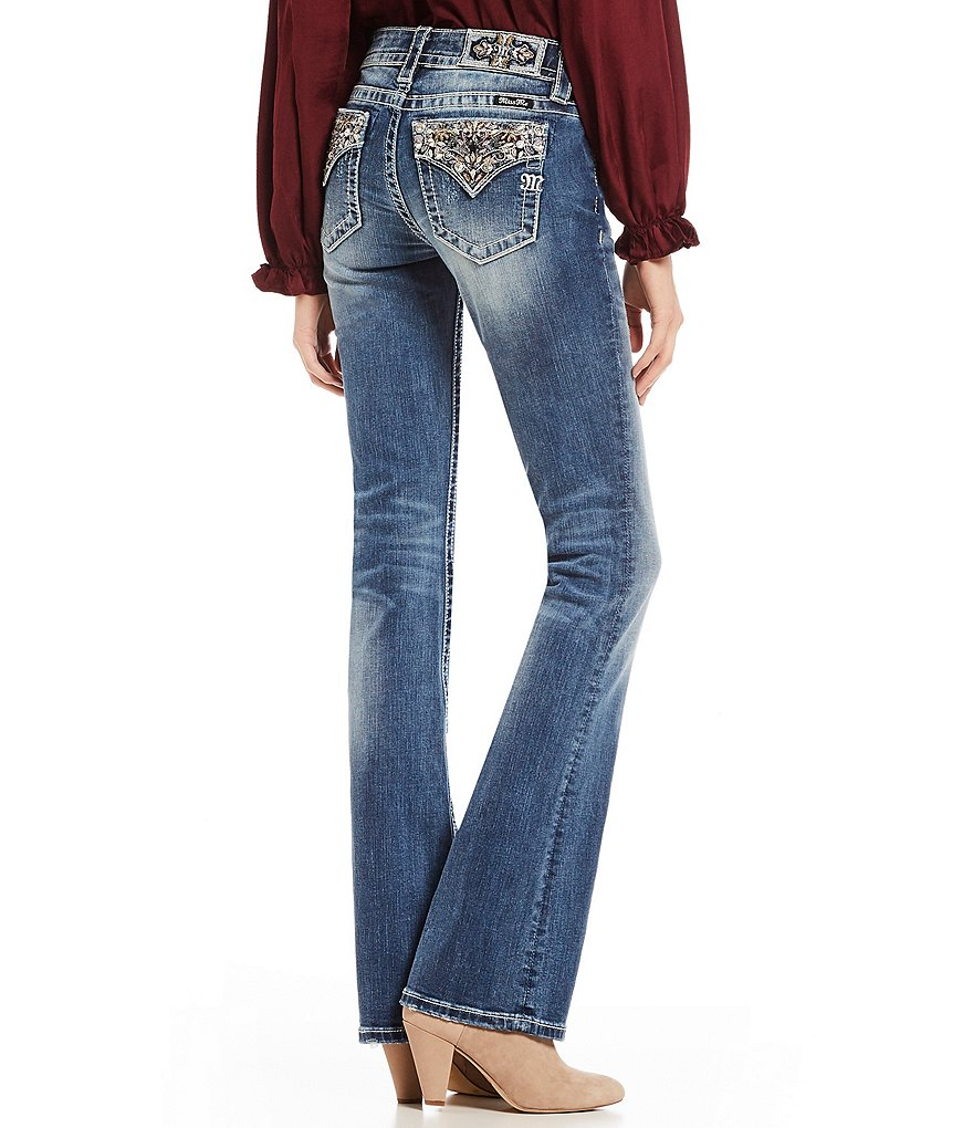 Miss Me Paisley Flap Back Pocket Bootcut Jeans