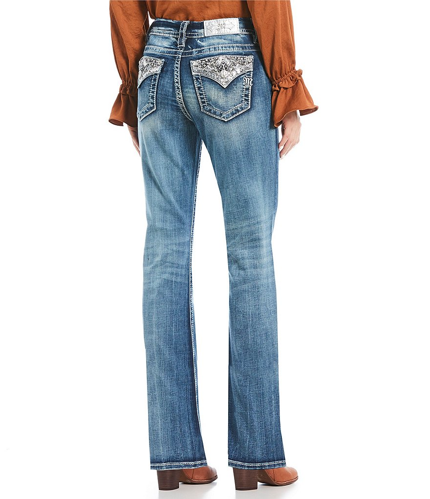 Miss Me Sequined-Pocket Bootcut Jeans