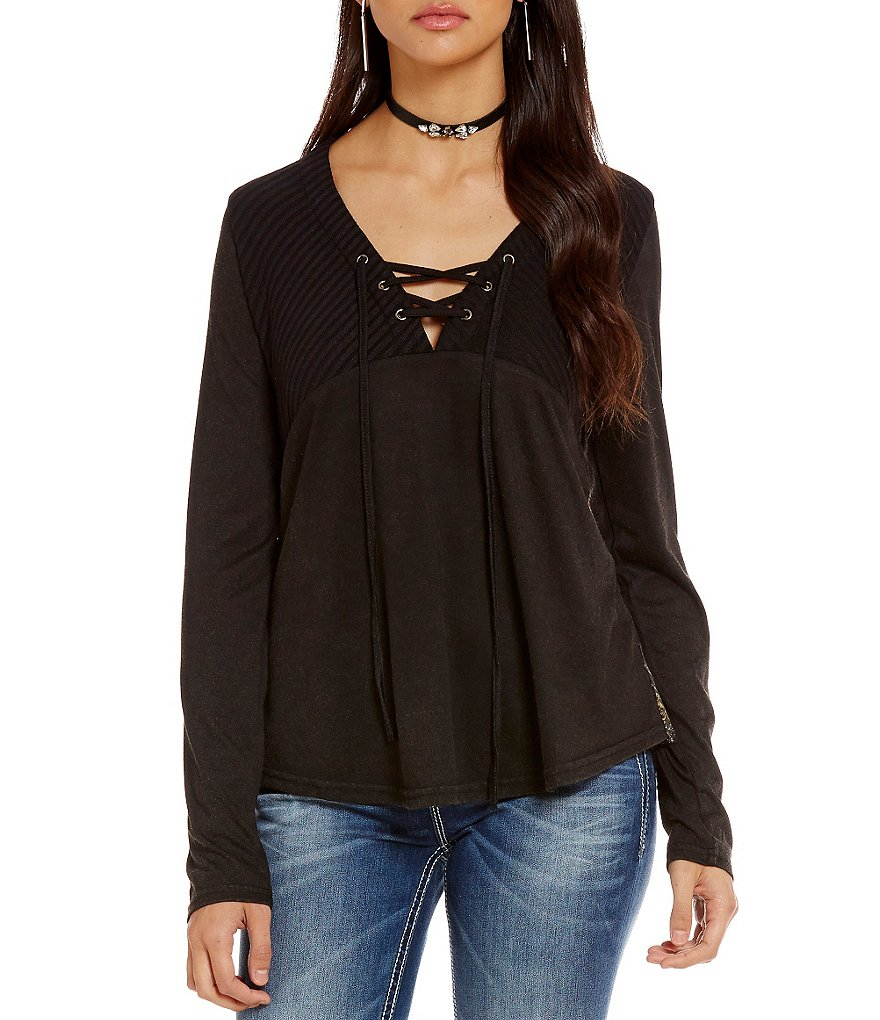 Miss Me V-Neck Lace-Up Long-Sleeve Printed-Back Top