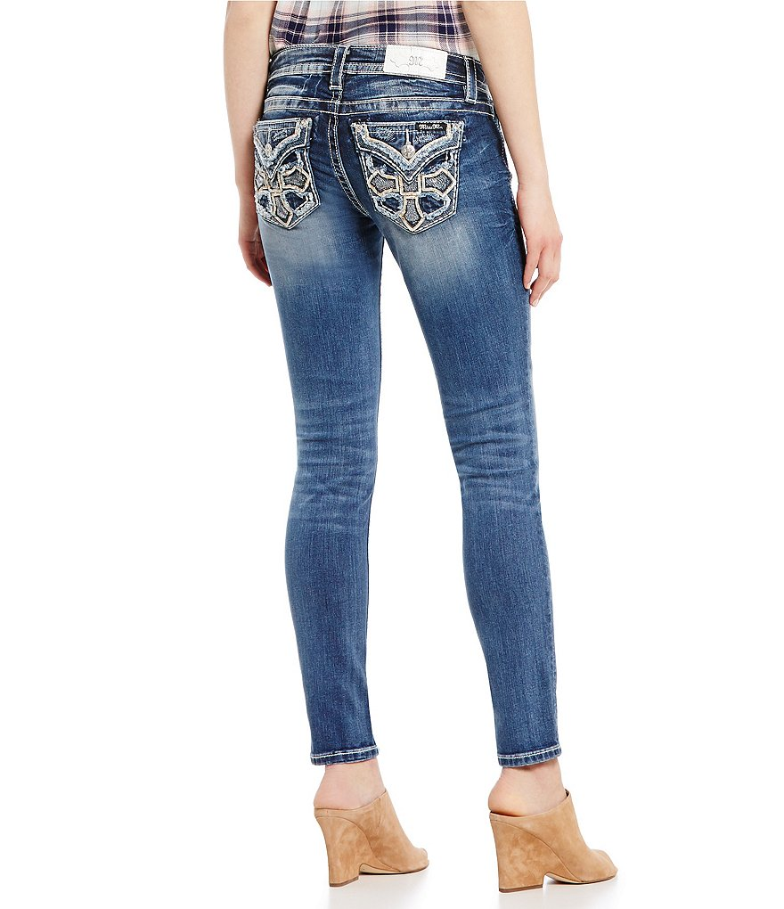Miss Me Vintage Embellished Cross Pocket Woven Stretch Skinny Jeans