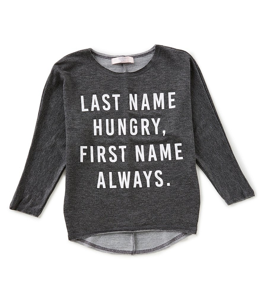 Moa Moa Big Girls 7-16 Long-Sleeve Last Name Hungry Tee