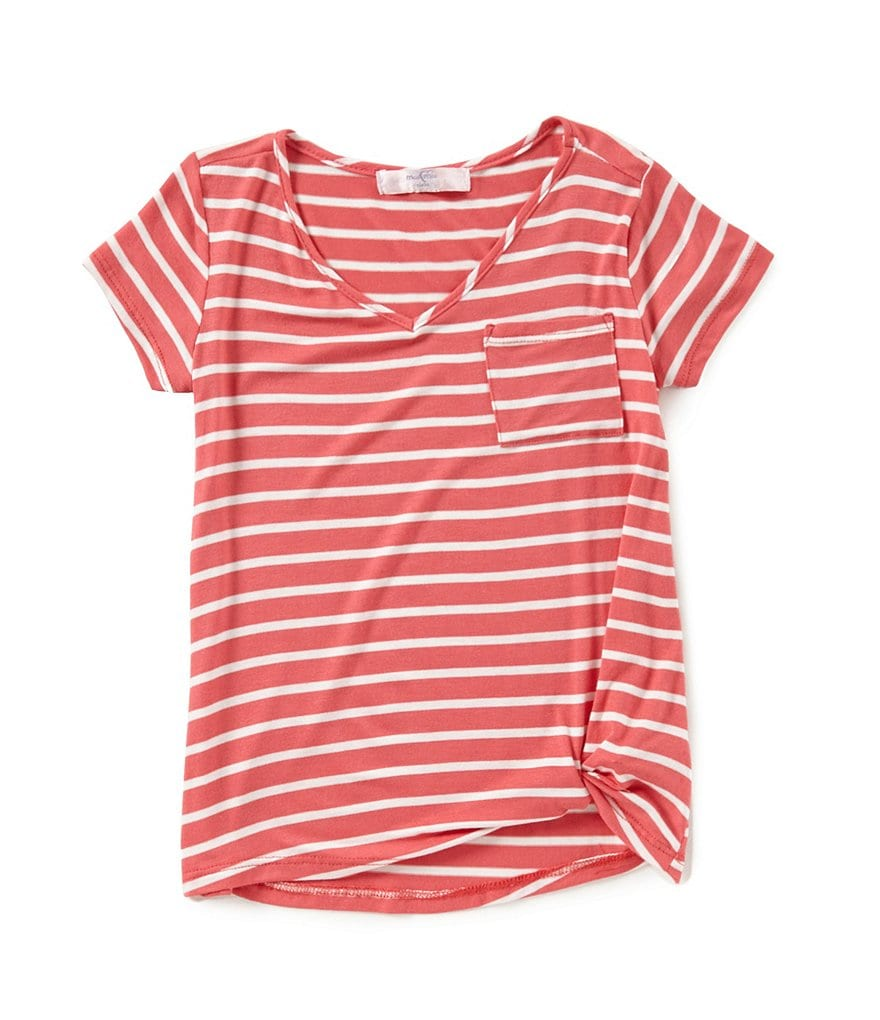 Moa Moa Big Girls 7-16 V-Neck Knot Front Striped Tee
