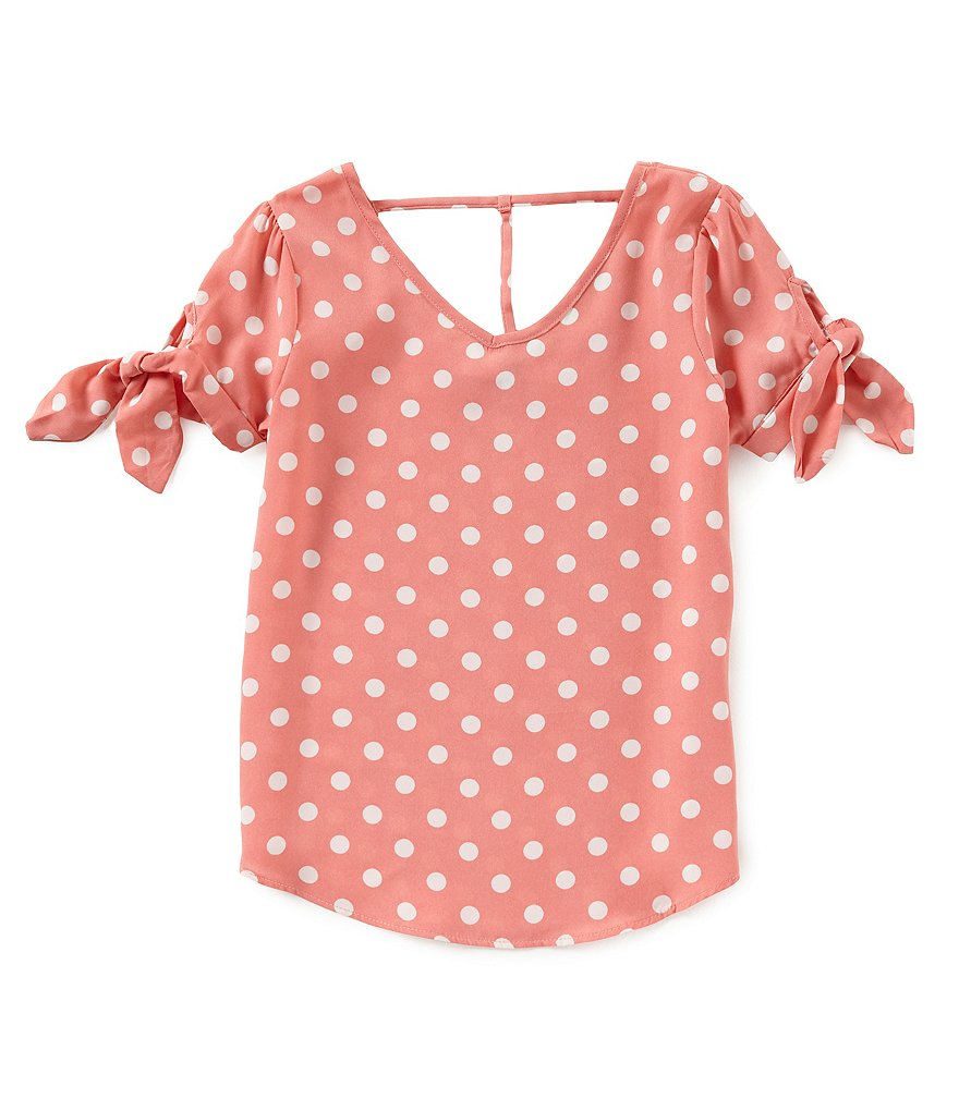 Moa Moa Big Girls 7-16 V-Neck Polka-Dot Tee
