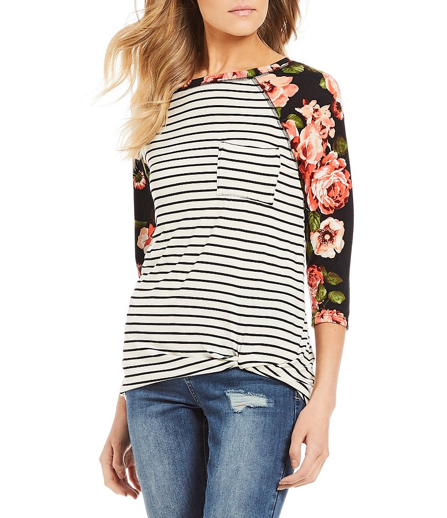 Moa Moa Floral Printed Stripe Knot Front Raglan Tee