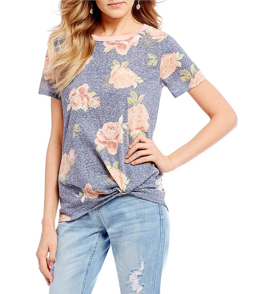 Moa Moa Floral-Printed Twist-Front Knit Tee