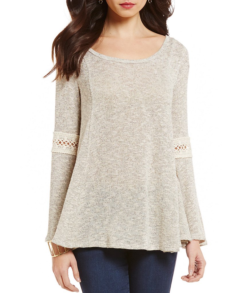 Moa Moa Long-Sleeve Lace-Up Back Top