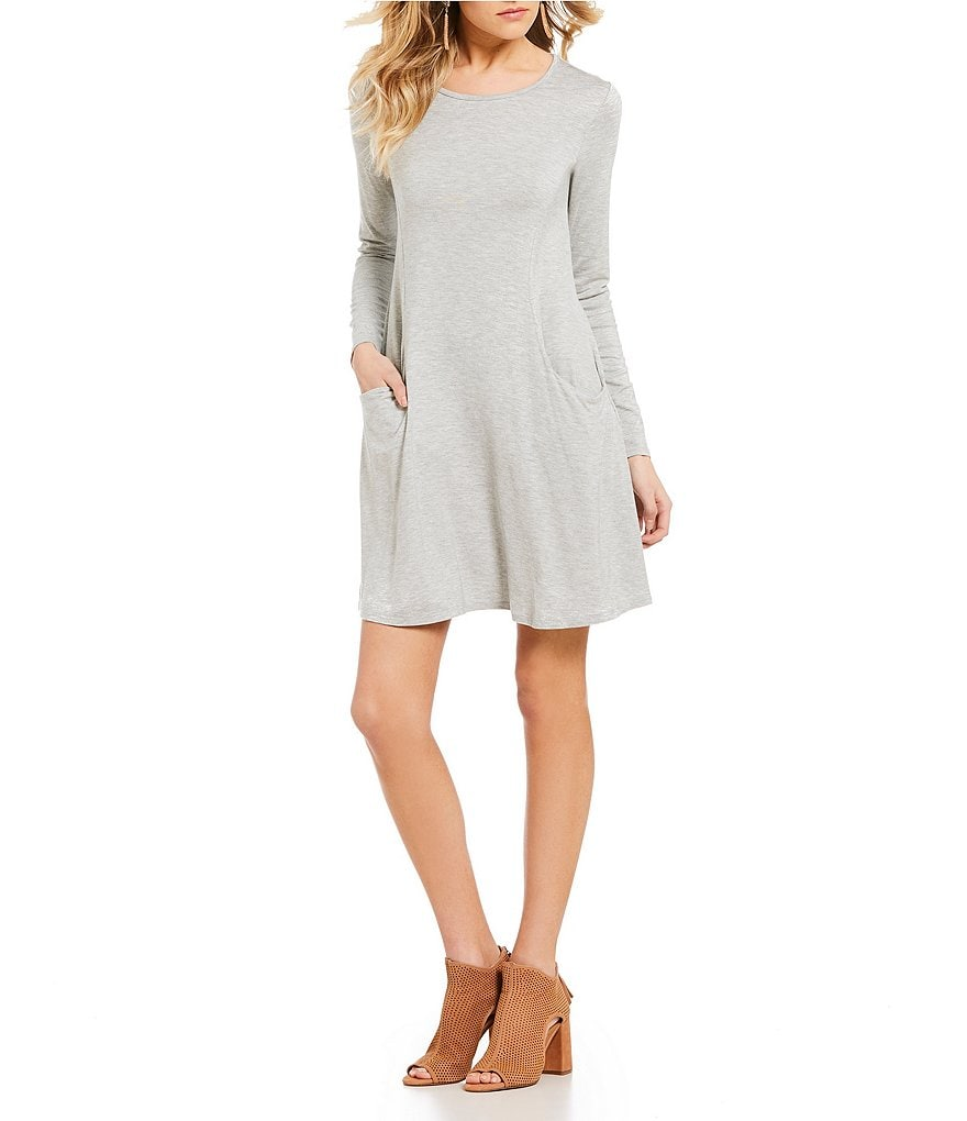 Moa Moa Long Sleeve Pocket Swing Dress